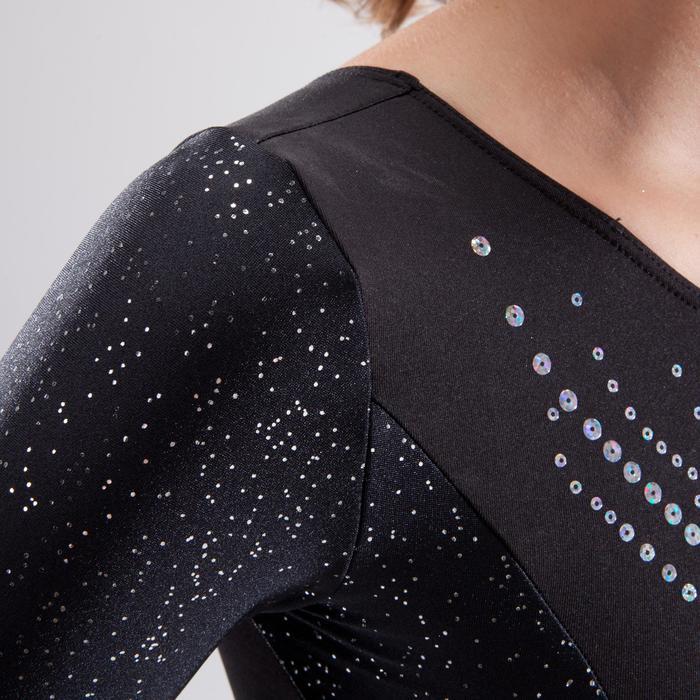 Justaucorps manches longues gymnastique artistique féminine noir et sequins - 1498945
