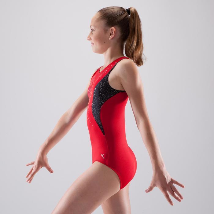 Justaucorps gymnastique artistique féminine rouge sequins