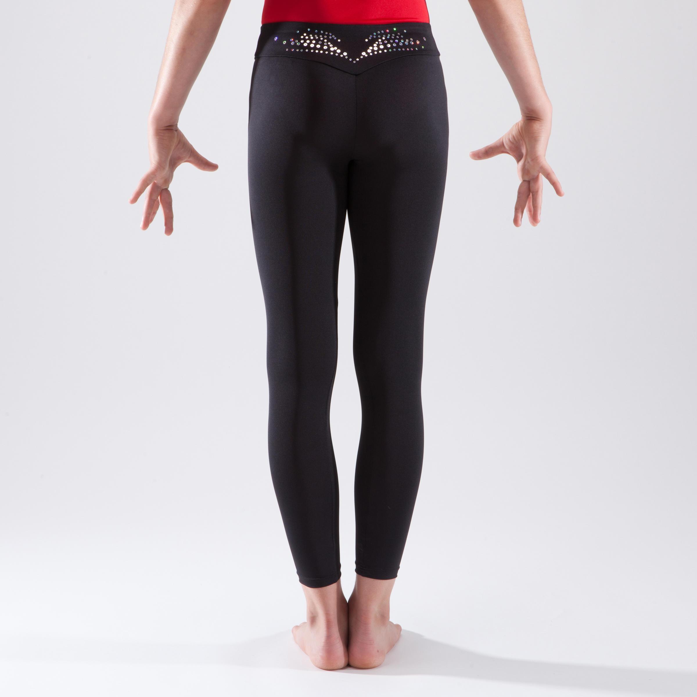 Girls' Artistic Gymnastics Leggings - Black/Sequins
