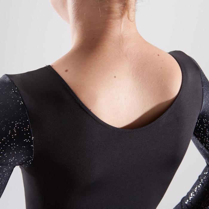 Justaucorps manches longues gymnastique artistique féminine noir et sequins - 1498969