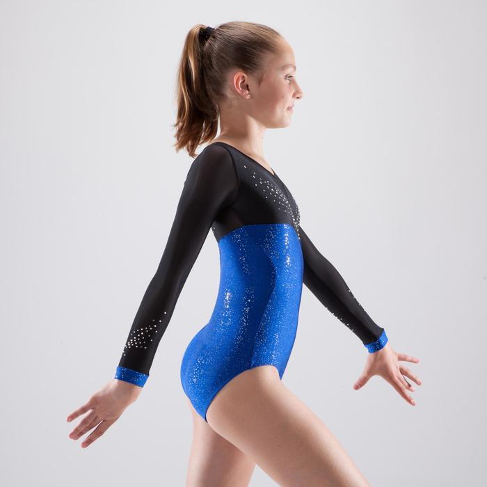 Justaucorps manches longues de gymnastique artistique féminine strass - 1498975