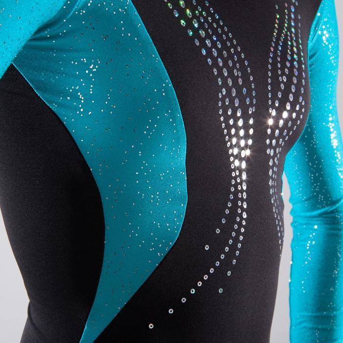 Justaucorps manches longues gymnastique artistique féminine noir et sequins - 1498976