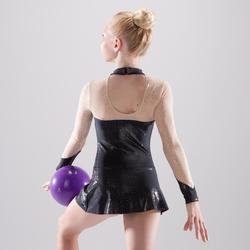 Justaucorps jupette à manches longues de Gymnastique Rythmique Noir Pailleté