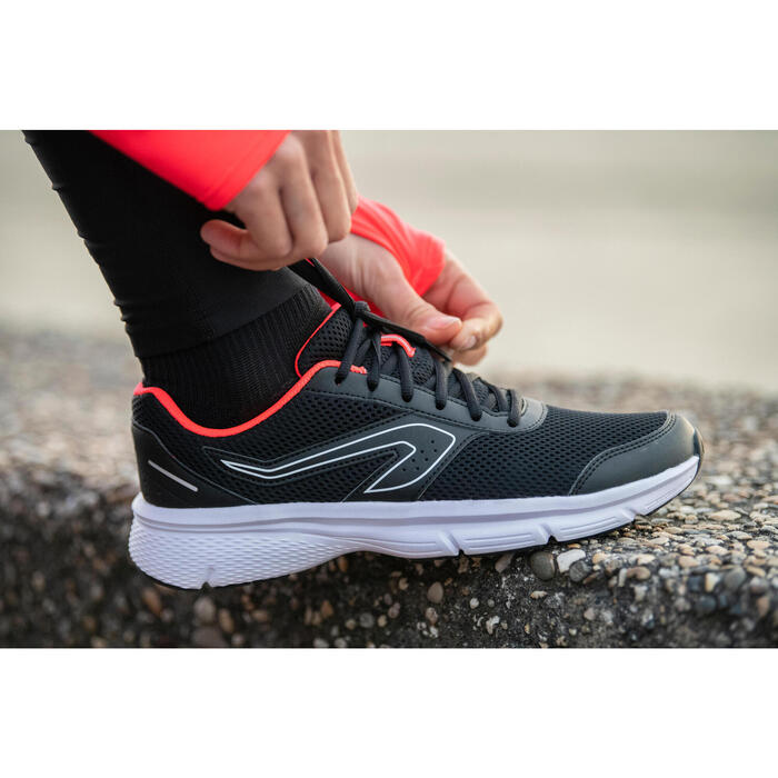 女款慢跑鞋CUSHION - 黑色/珊瑚紅