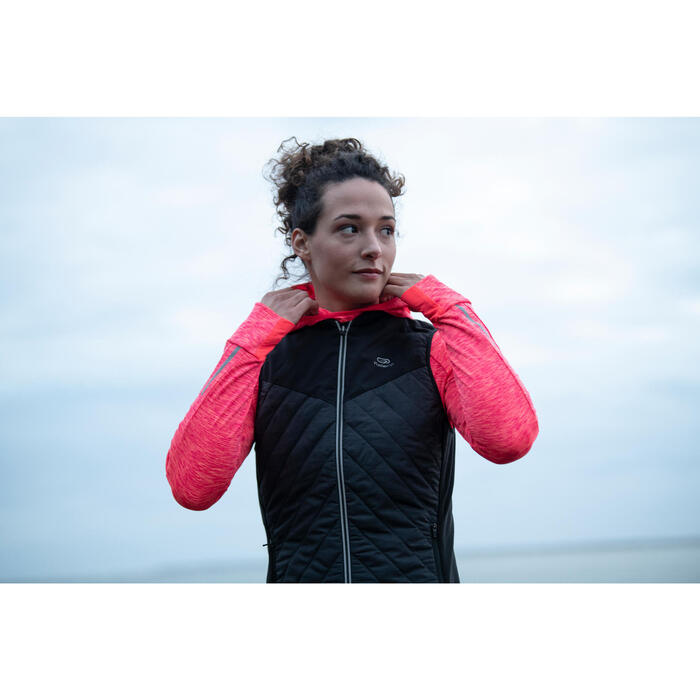 MAILLOT MANCHES LONGUES JOGGING FEMME RUN WARM HOOD CORAIL