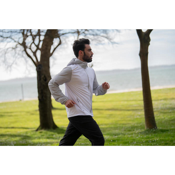 Cortavientos Chaqueta Running Kalenji Run Wind Hombre Blanco Cremallera Capucha