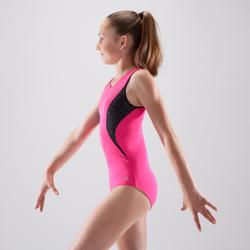 Maillot de gimnasia artística femenina rosa lentejuelas