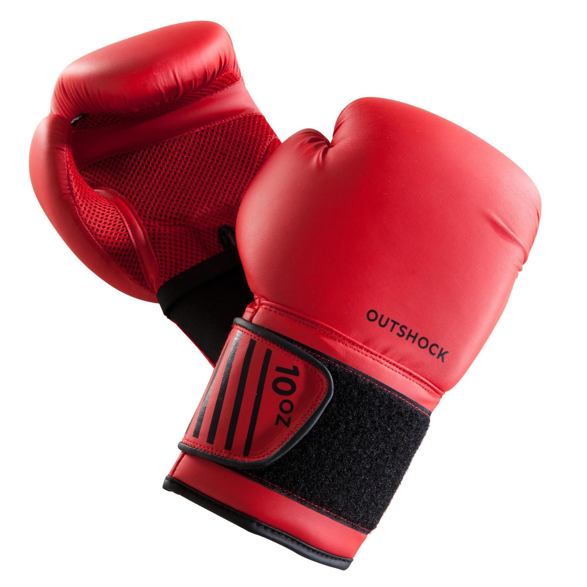 Outshock Bokshandschoenen 100 rood, beginnende bokser heren of dames