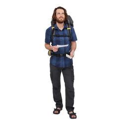 Camisa de manga corta TRAVEL 100 FRESH HOMBRE A CUADROS AZUL