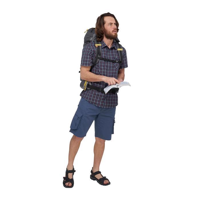 Chemise manches courtes TRAVEL 50 homme carreaux bleu