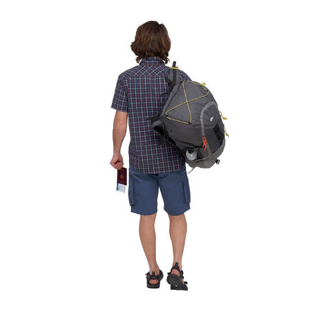 Travel 50 Men's Short-Sleeved Check Shirt - Blue