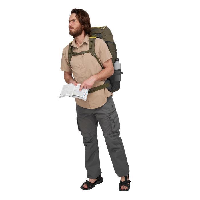 Trekkingbroek Travel 100 voor heren, afritsbaar, lichtgrijs