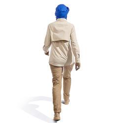 女款長袖沙漠健行襯衫Desert 500-米色