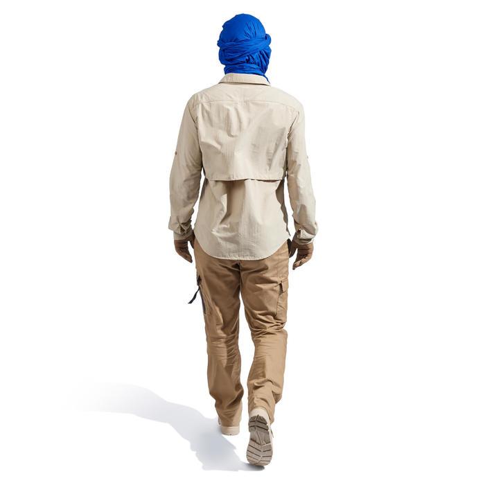 Heren overhemd met lange mouwen voor woestijntrekking Desert 500 beige