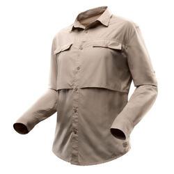 Desert 500 Men's Long-sleeved Trekking Shirt - Beige