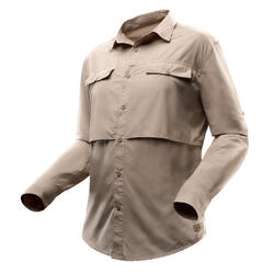 Desert 500 Men's Long-sleeved Trekking Shirt - Beige
