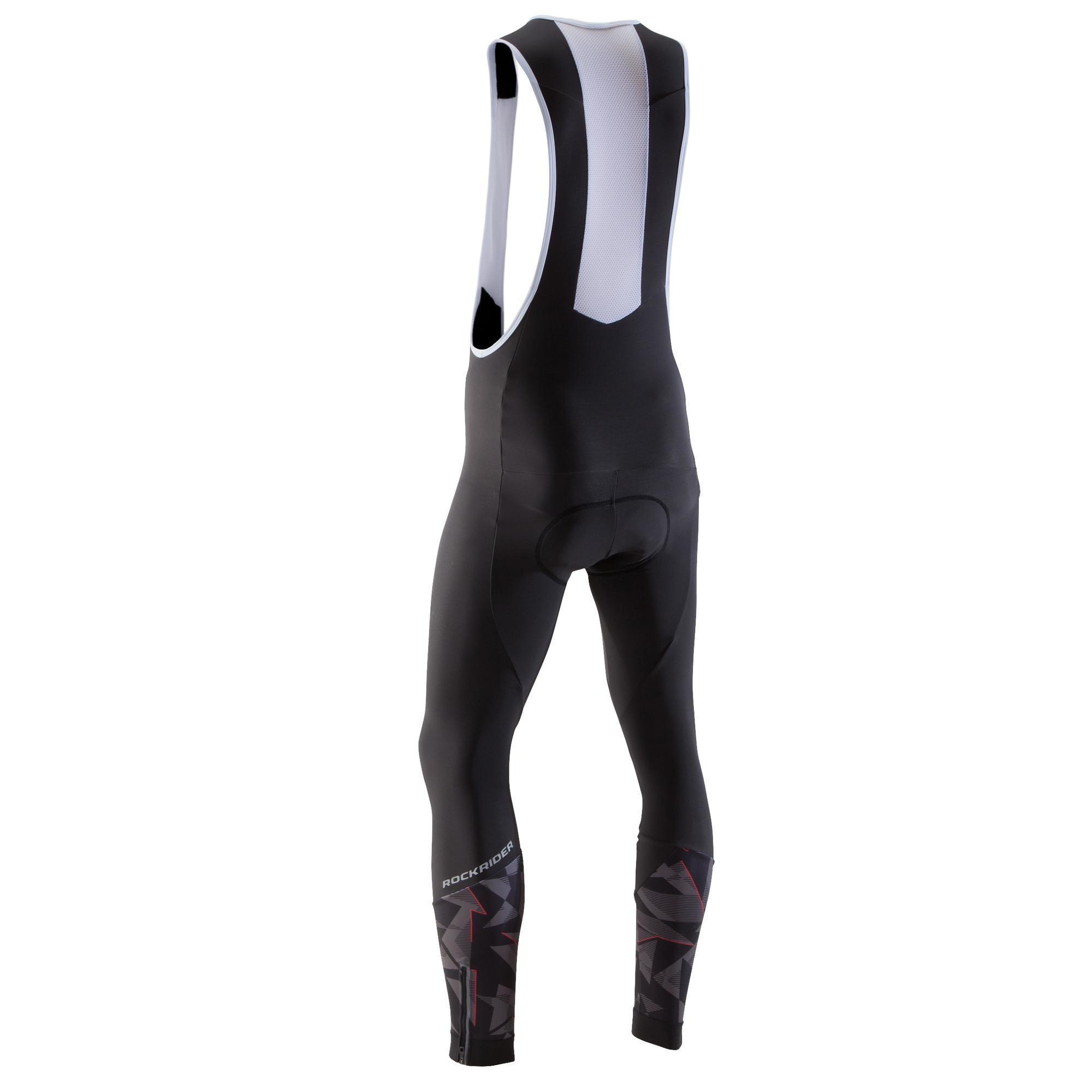 Rockrider MTB-broek met bretels heren ST 500 zwart en rood