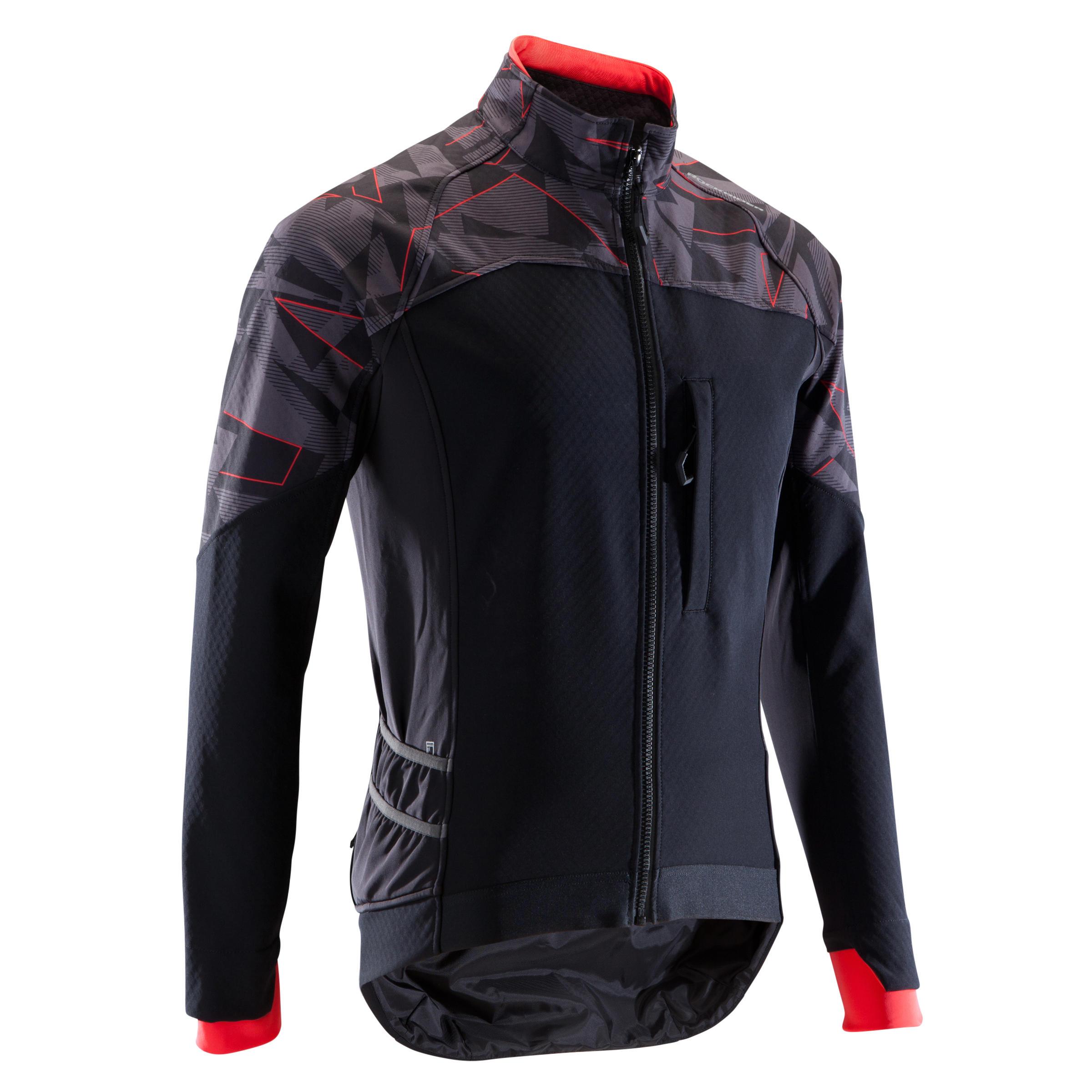 MTB-Fahrradjacke ST 500 Herren schwarz/neonrot | Sportbekleidung > Sportjacken > Fahrradjacken | Schwarz - Rot | Trikot - Wo | Rockrider