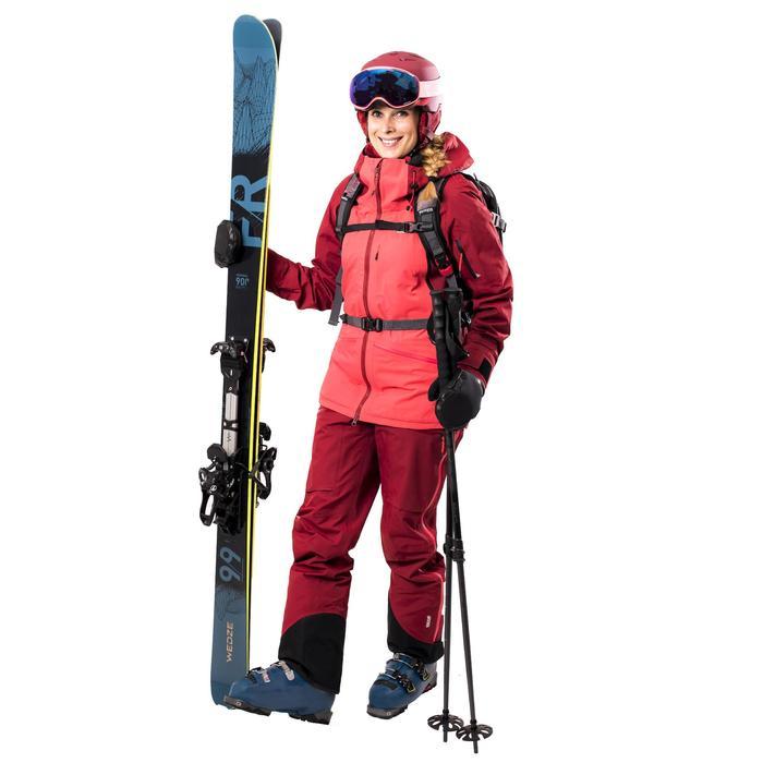 Pantalón nieve y esquí wed'ze FR900 2 piezas mujer burdeos