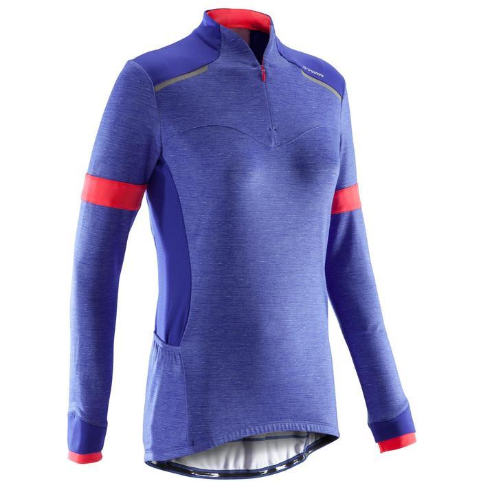 Fietsshirt met lange mouwen voor dames 500 blauw roze