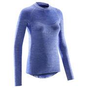 Modra ženska kolesarska majica 500 (osnovni sloj)