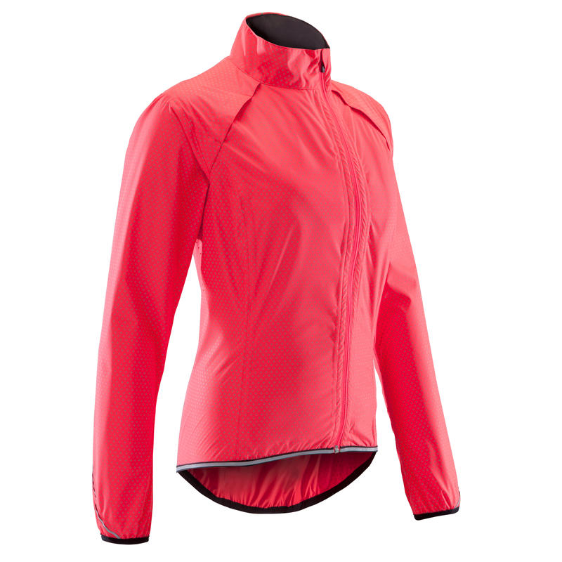 500 Women's Showerproof Cycling Jacket - Pink/Triangles