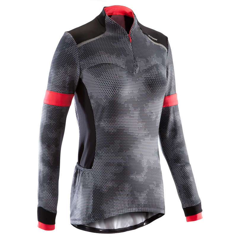 WOMAN MID SEASON CYCLING GARMENT Clothing - Triban 500 Women's Long-Sleeved Jersey - Black TRIBAN - By Sport