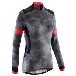 Fietsshirt met lange mouwen voor dames 500 zwart roze