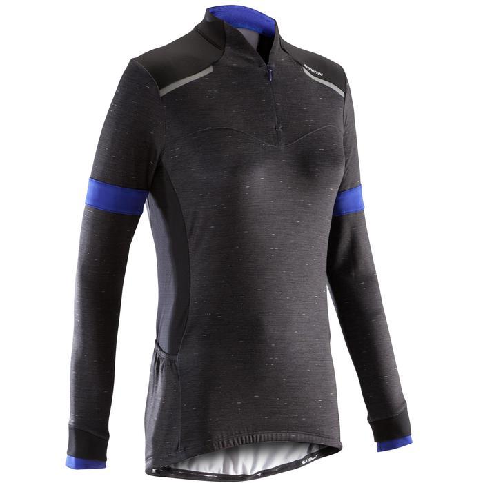 Fietsshirt met lange mouwen voor dames 500 zwart blauw