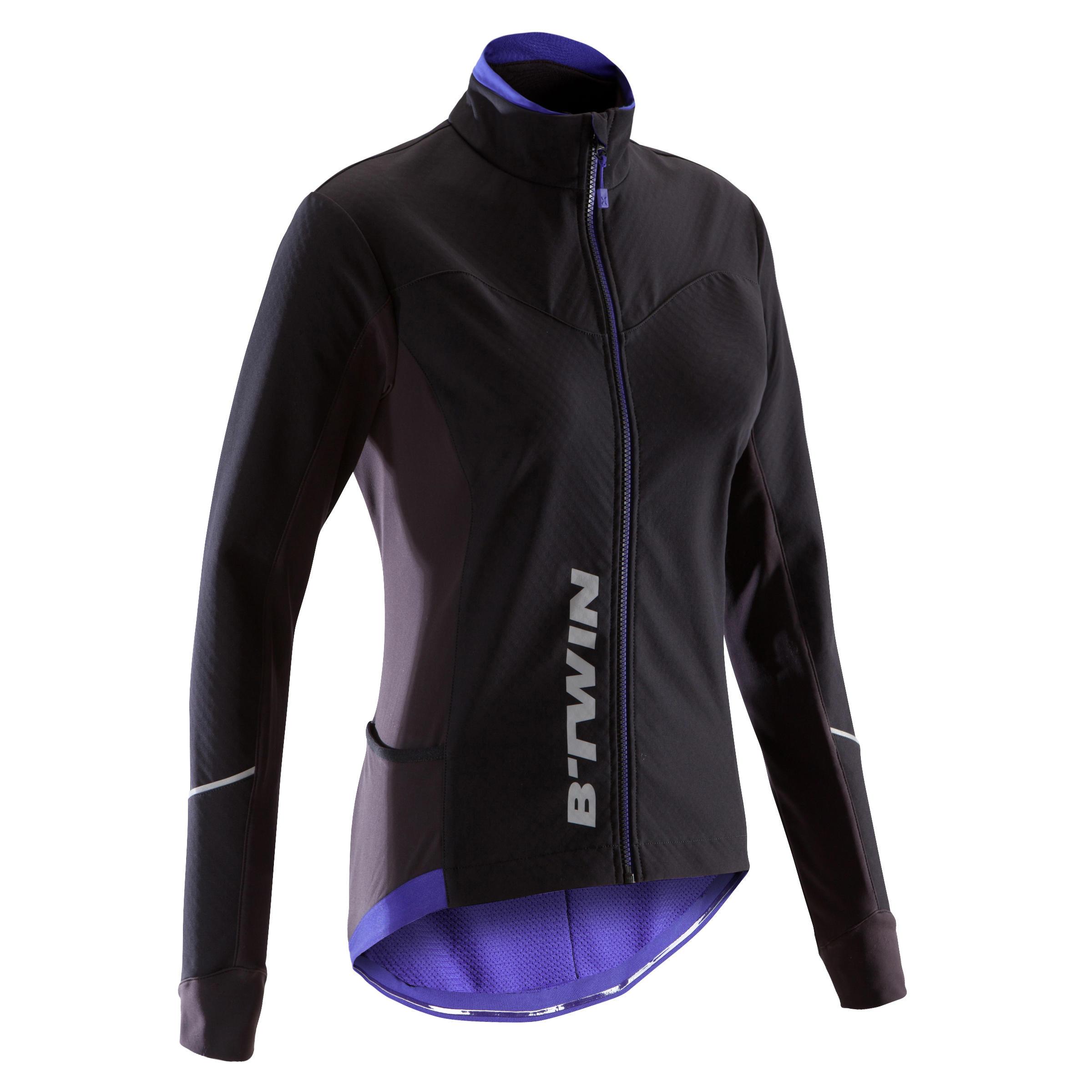 Fahrradjacke 500 Damen schwarz/blau | Sportbekleidung > Sportjacken > Fahrradjacken | B´twin