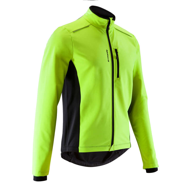 MEN COLD WEATHER ROAD CYCLING APPAREL - RC 100 Winter Road Cycling Jacket - Yellow TRIBAN