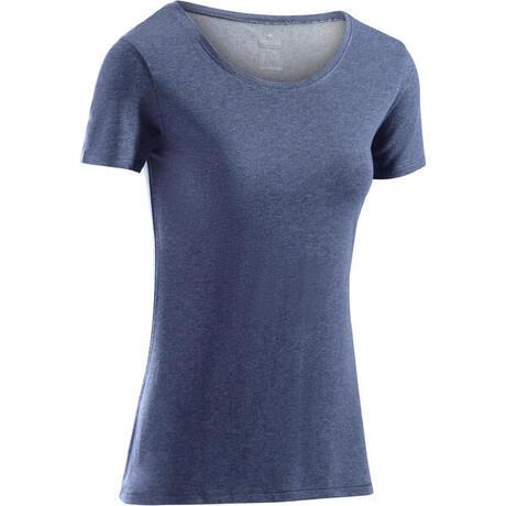 4eebb6c035c59 T-Shirt 500 régular manches courtes Gym   Pilates femme bleu chiné foncé    Domyos by Decathlon