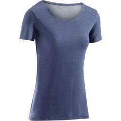 T-Shirt 500 régular manches courtes Gym & Pilates femme bleu chiné foncé