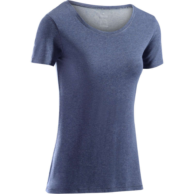 WOMAN T SHIRT LEGGING SHORT Clothing - 500 Regular Gym T-Shirt - Blue NYAMBA - Tops