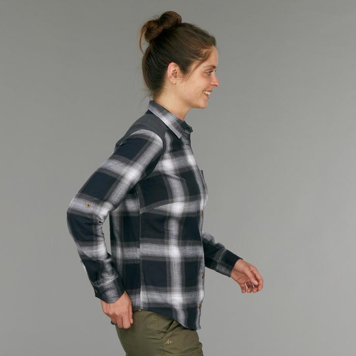 Chemise manches longues trekking TRAVEL100 warm femme carreaux gris