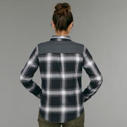Camisa manga larga trekking TRAVEL 100 warm mujer a cuadros gris