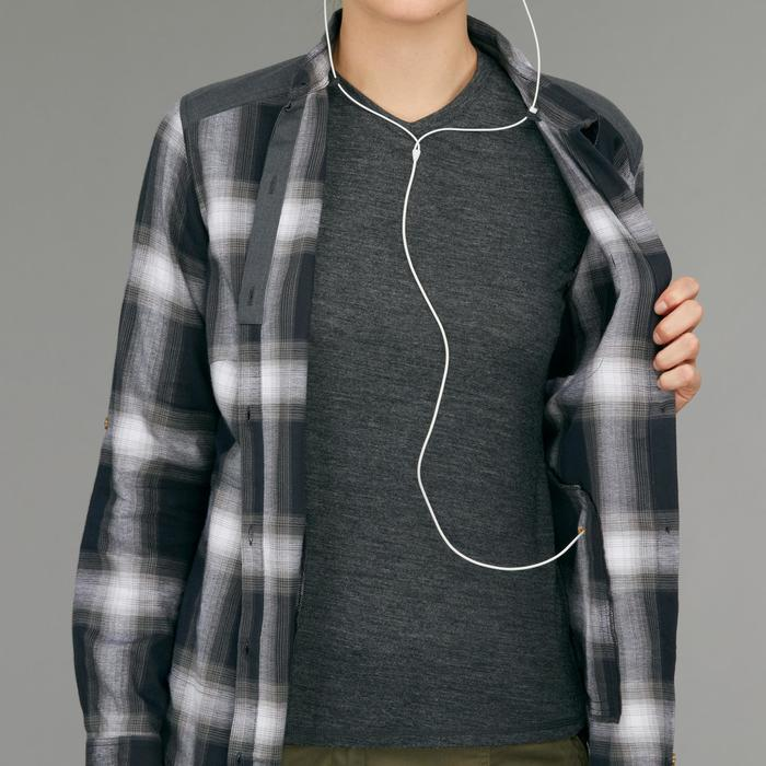 ece3e7e757 Camisa manga larga trekking TRAVEL 100 warm mujer a cuadros gris ...