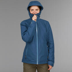 Waterdichte 3-in-1 jas voor backpacken dames comfort -8°C Travel 500 blauw