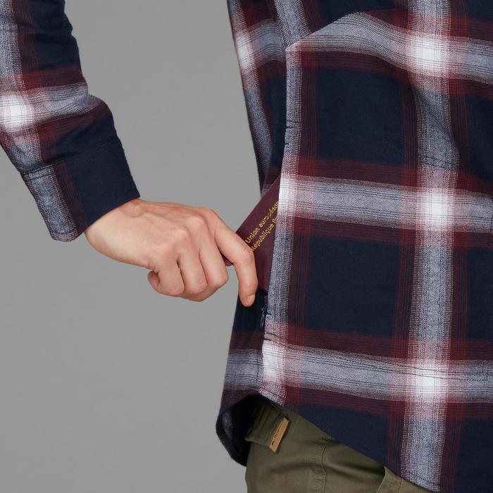 Camisa manga larga trekking TRAVEL 100 warm mujer a cuadros burdeos