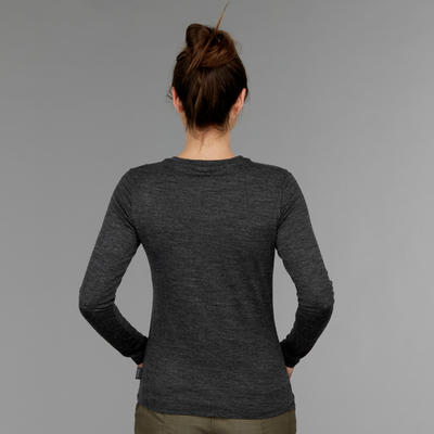 Women's Travel Trekking Merino Wool T-Shirt TRAVEL 100 Grey