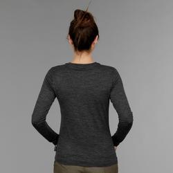 Trekkingshirt met lange mouwen voor dames Travel 500 merinowol grijs