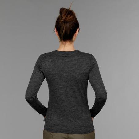 T-shirt laine mérinos de trek voyage - TRAVEL 100 gris femme
