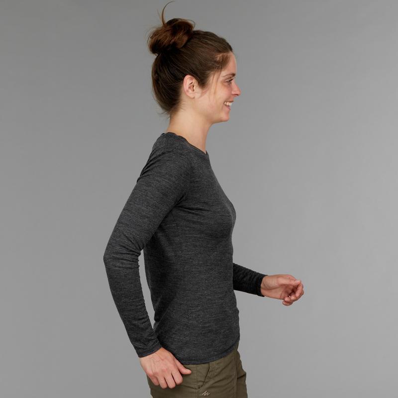 Tee-shirt manches longues trekking TRAVEL500 laine merinos femme gris