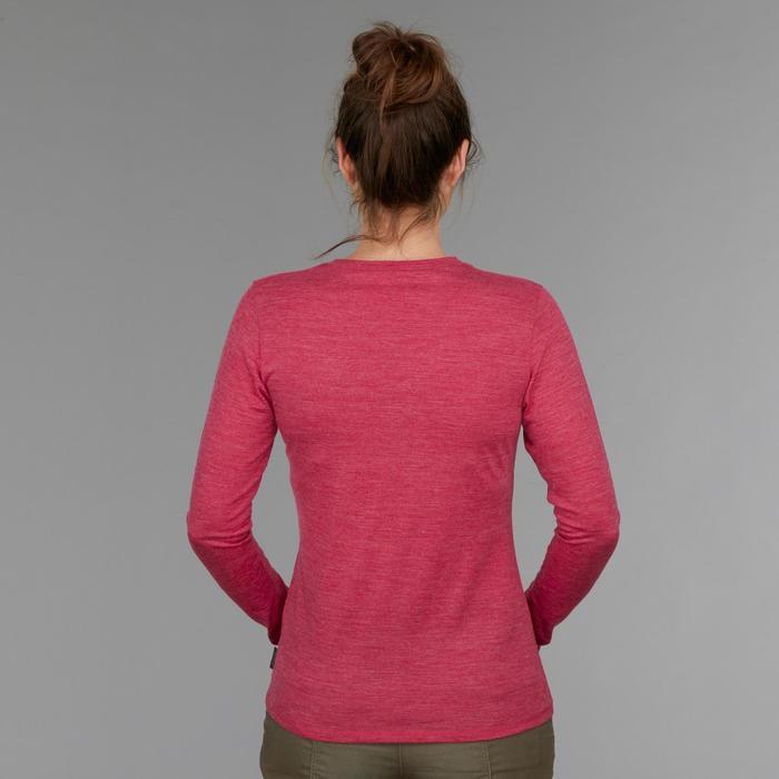 Merinoshirt Langarm Travel 500 Damen rosa