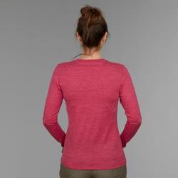 Trekkingshirt met lange mouwen voor dames Travel 500 merinowol roze