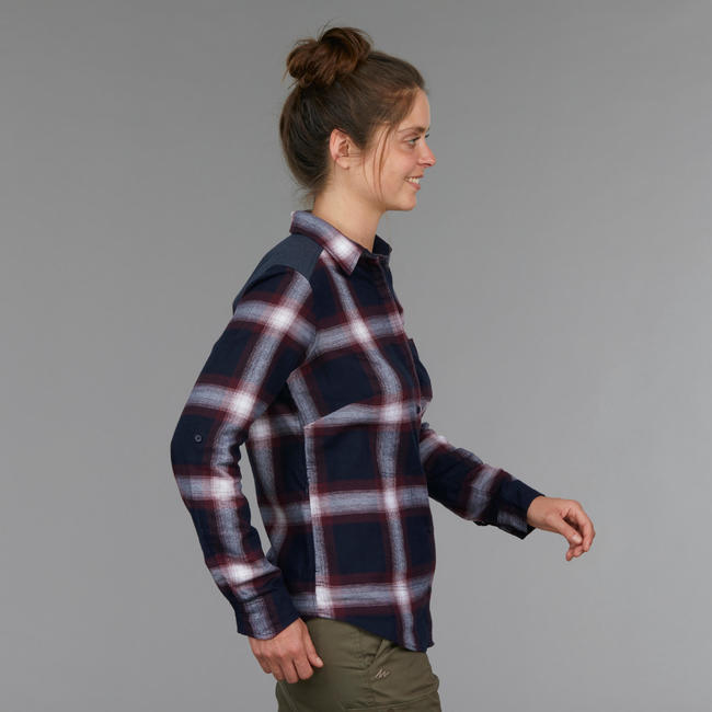 Women's Trekking Long-Sleeved Shirt Travel100 Warm - Burgundy Check