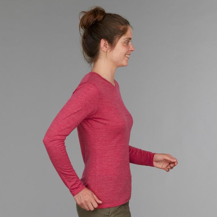 Damesshirt met lange mouwen Travel 500 Wool roze