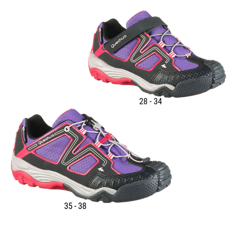 SHOES REGULAR 7-15yrs - Crossrock Kids Waterproof Walking Shoes - Purple/Pink QUECHUA