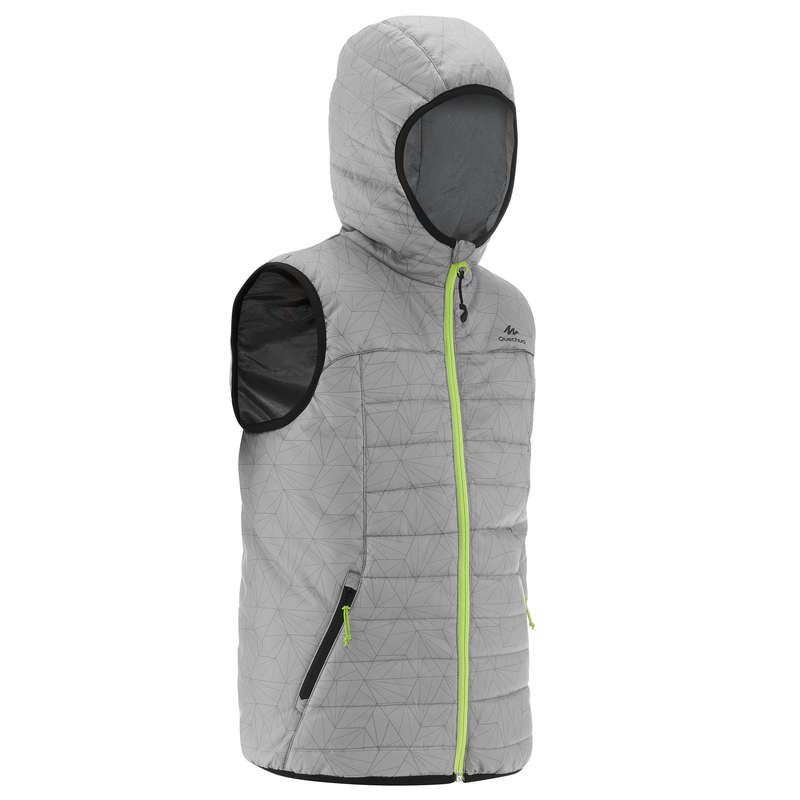 CHILDREN MOUNTAIN HIKING FLEECES, SOFT Hiking - CHILDREN'S GILET MH500 - GREY QUECHUA - Hiking Clothes