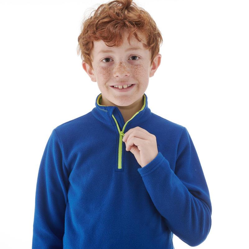 เสื้อแจ็คเก็ตเด็กผ้าฟลีซสำหรับใส่เดินป่ารุ่น MH100 (สีน้ำเงิน)